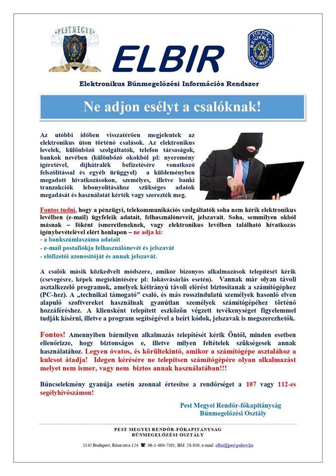 rendőrségi felhívás elektronikus csalók ellen